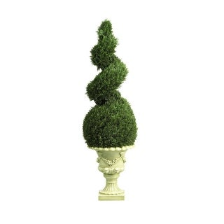 Nearly Natural 4' Cedar Spiral with Decorative Vase Arrangement - Green