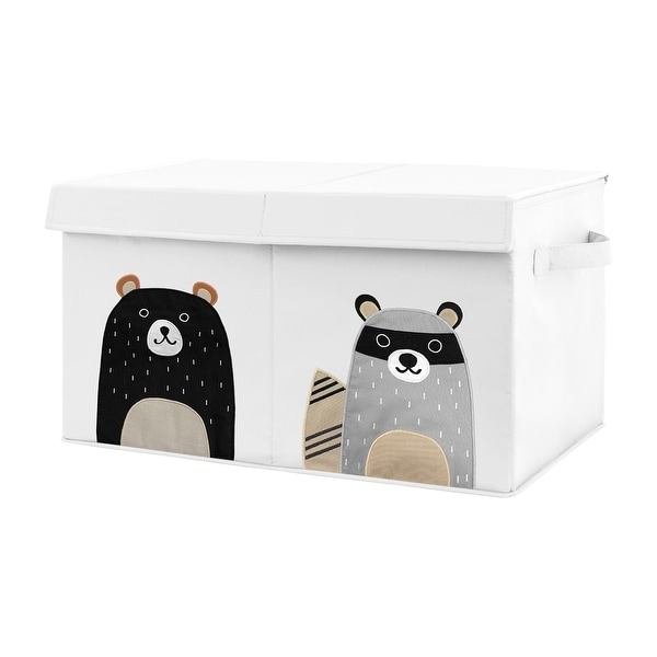 Woodland Bear Racoon Collection Boy or Girl Kids Fabric Toy Bin Storage - Neutral Beige, Green, Black and Grey Forest Pals. Opens flyout.