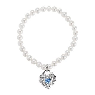 Honora Freshwater Pearl Stretch Bracelet with Heart Charm & Blue Cubic Zirconia in Sterling Silver
