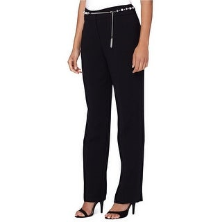 Tahari ASL Petite Crepe Chain Belt Dress Pants Black - 0p