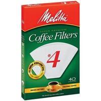 Melitta 624404 40 Count No. 4 White Cone Coffee Filters