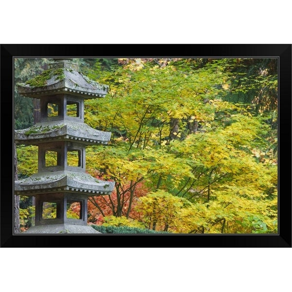 """Portland Japanese Garden, Portland, Oregon, Usa"" Black Framed Print"