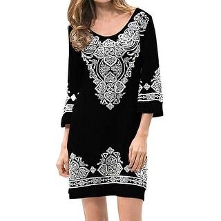 Womens Casual 3/4 Sleeve Scoop Neck Heart Print Dress
