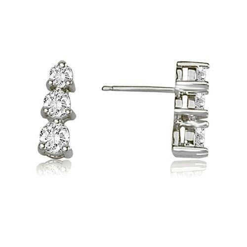 0.50 cttw. 14K White Gold Three-Stone Round Cut Diamond Earrings - White H-I