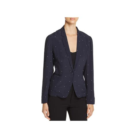 Vince Camuto Womens One-Button Blazer Pindot Notch Collar