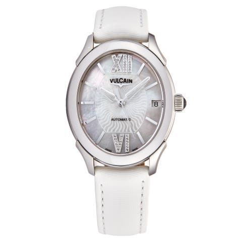 Vulcain Women's 610164N2SBAS412 'First Lady' Mother of Pearl Diamond Dial White Satin Leather Strap Automatic Watch