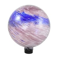 """10"""" Dusky Rose Pink and Blue Swirled Glass Outdoor Patio Garden Gazing Ball"""