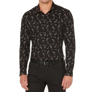 Perry Ellis NEW Black Mens Size Large L Paisley Button Down Shirt