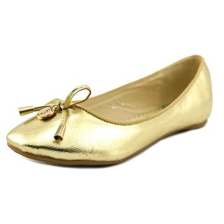 RSB London Angie Youth Round Toe Leather Gold Ballet Flats