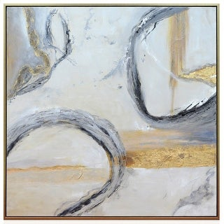 "Harp and Finial HFW32917  Jensen 54"" x 54"" Framed Abstract Painting on Canvas - Gray"