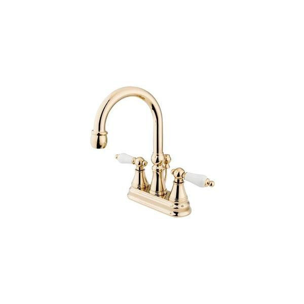 "Elements Of Design ES2612PL Double Handle 4"" Centerset Bathroom Faucet with Porcelain Lever Handles and Brass Drain Assembly"