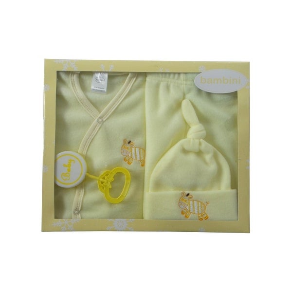 Bambini Baby Yellow Newborn 4-Piece Pastel Fleece Gift Set