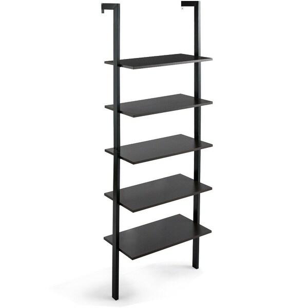 5-Tier Wood Wall Mounted Bookshelf with Metal Frame