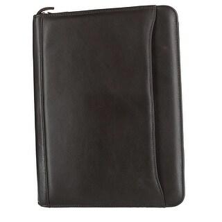 CTM® Men's Leather Padfolio with Zip-Around Closure - One size