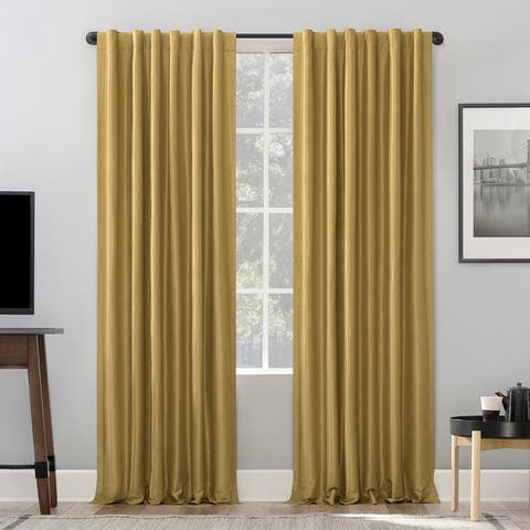 Sun Zero Evelina Faux Dupioni Silk Thermal Extreme Total Blackout Back Tab Curtain Panel