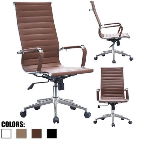 Brown Modern High Back Tall PU Leather Swivel Chair With Ribbed Back Arms Wheels Office Conference Room Comfortable