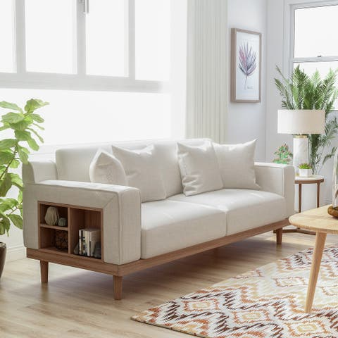 Furniture of America Stacy Contemporary Cream Sofa With Shelves