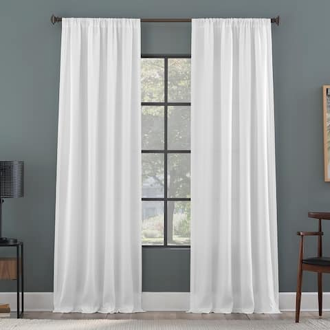 Clean Window Raised Dobby Recycled Fiber Semi-Sheer Curtain Panel