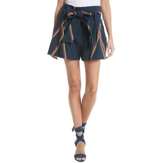 Tanya Taylor Navy Blue Womens Size 12 Jimi Embroidered Shorts