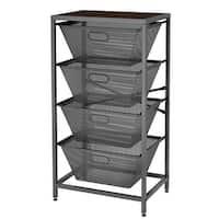 LANGRIA Shelving Unit 4-Tier Mesh Basket Storage Organizer