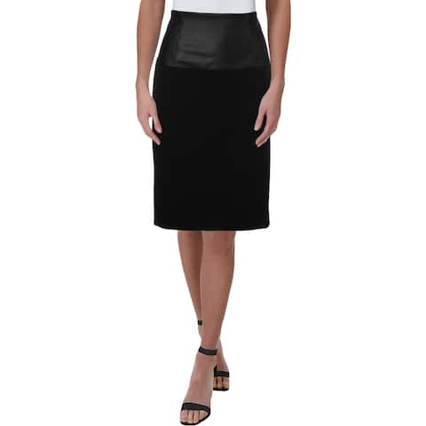 Kenneth Cole Womens Pencil Skirt High Waisted Mixed Media