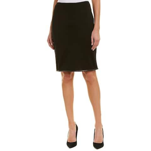 St. John Leather-Trim Wool-Blend Pencil Skirt