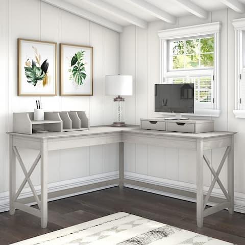 The Gray Barn Hatfield 60-inch L-shaped Desk with Desktop Organizers