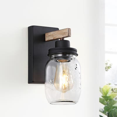 "1-Light Black/Wood Tone Rustic Farmhouse Wall Sconce with Clear Mason Jar Glass Shade - 4.7""W"