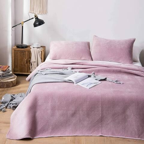 Kasentex Plush Poly Velvet Quilt Set Brushed Microfiber