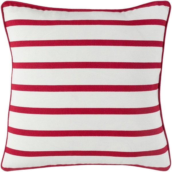 """18"""" Red and White Stripped Woven Decorative Square Throw Pillow - Down Filler"""