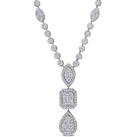 Miadora 14k White Gold 2ct TDW Diamond 3-Tier Geometric Drop Tennis Station Necklace - 36.4 mm x 17 inch x 8.9 mm