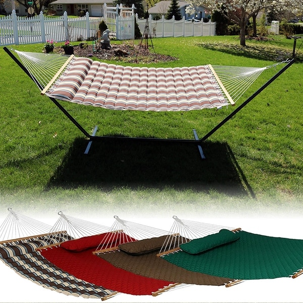 Sunnydaze Quilted Double Fabric 2-Person Hammock & Hammock Stand