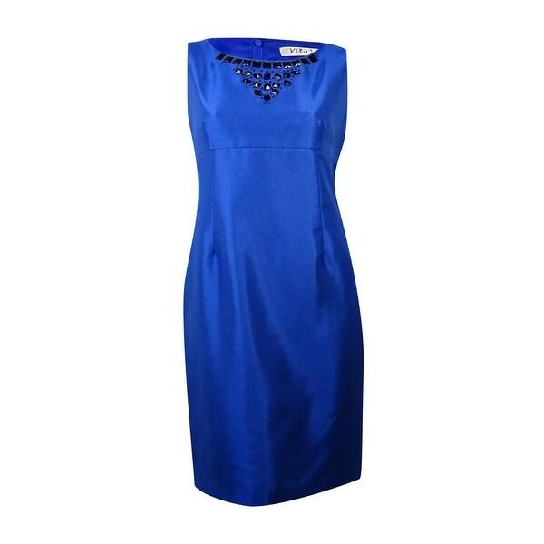 Kasper Women's Shimmer Beaded Neckline Sheath Dress - Electric Blue