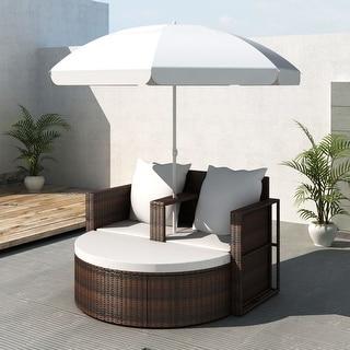 VidaXL Lounge Set Poly Rattan Brown Sunbed Parasol Garden Outdoor Umbrella