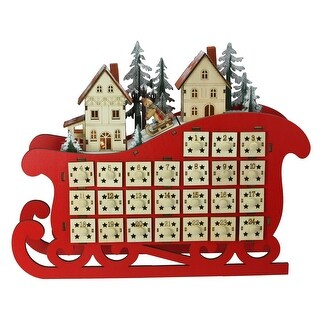 "11.5"" Red LED Sleigh and Village Christmas Count Down Advent Calendar"