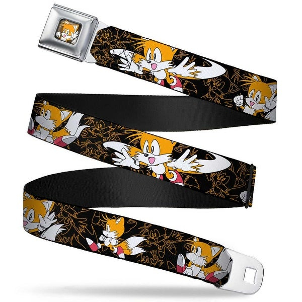 Sonic Classic tails Waving Pose Close Up Full Color Black Orange Tails Seatbelt Belt
