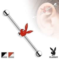 Playboy Bunny Epoxy with Clear Gem Eye Surgical Steel Industrial Barbell (Sold Individually)