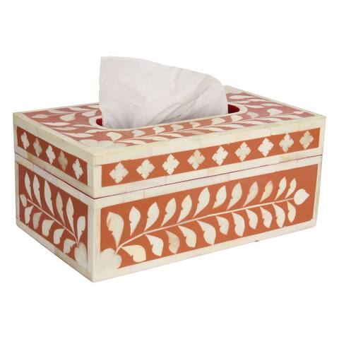 "GAURI KOHLI Jodhpur Bone Inlay Tissue Box Cover in Peachy Pink - 10"" X 6"" X 4.5"""