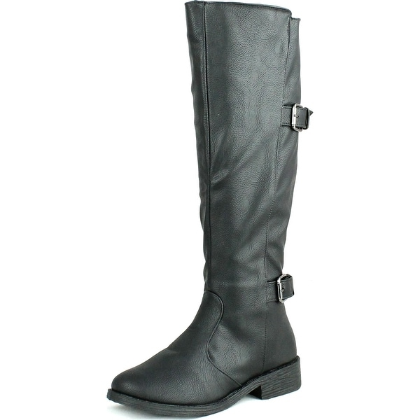 Bamboo Womens Jagger-15A Fashion Double Buckle Equestrian Style Riding Boots