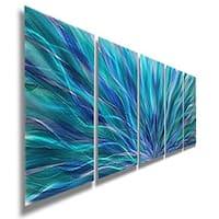 Statements2000 Blue Abstract Metal Wall Art Painting Panels by Jon Allen - Blue Aurora