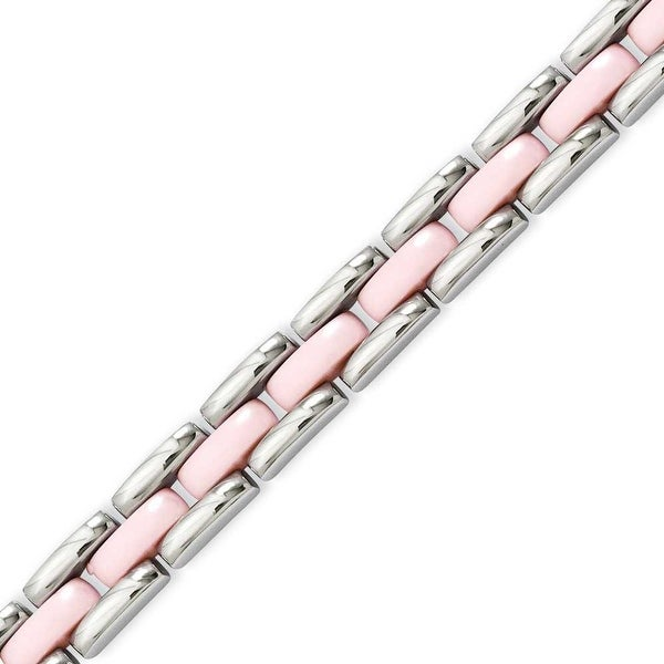 Stainless Steel Pink Ceramic 8in Bracelet