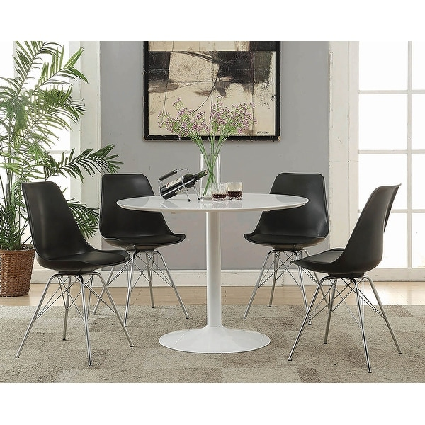 Silver Orchid Rosar White Metal Round Dining Table. Opens flyout.