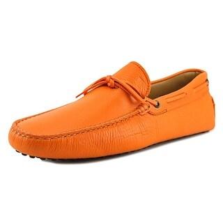 Tod's New Laccetto Occh. New Gommini 122 Men Moc Toe Suede Orange Loafer