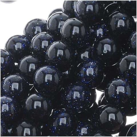 Dark Midnight Blue Goldstone 6mm Round Beads / 14.5 Inch Strand