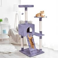 Gymax Gray 52'' Cat Tree Tower Condo Furniture Scratching Post Kitty Play House Ladder - as pic