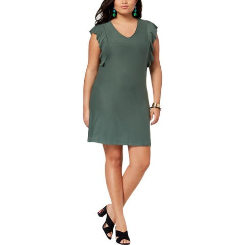 Planet Gold Womens Plus Cocktail Dress Jersey Mini