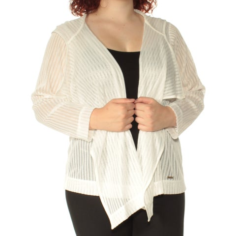 TOMMY HILFIGER Womens Ivory Hooded Long Sleeve Open Cardigan Sweater Size: 1X
