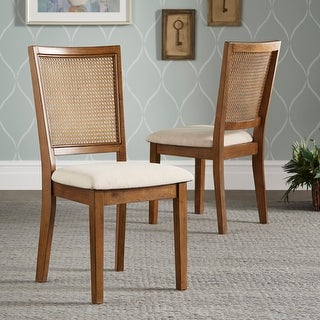 Link to Eleanor Beige Linen Rattan Back Dining Chairs (Set of 2) by iNSPIRE Q Classic - Set of 2 Similar Items in Dining Room & Bar Furniture