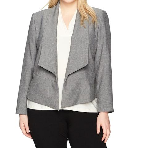 Nine West Gray Womens Size 16W Plus Stretch Draped Flyaway Jacket