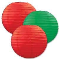 """Club Pack of 18 Round Festive Red and Green Hanging Paper Lanterns 9.5"""""""